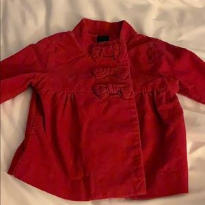 Baby gap red coat with bow accents